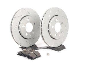 ES#2594749 - HB364F.587RPSKT1 - Performance Rear Brake Service Kit (256x22) - Featuring ECS GEOMET Slotted rotors and Hawk HPS pads - Assembled By ECS - Audi Volkswagen