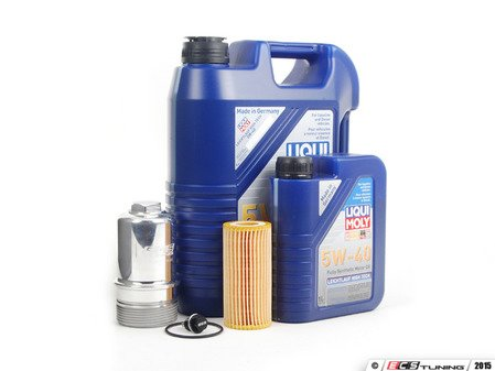 ES#2785340 - 06K115562SVCKT28 - Oil Service Kit - With Magnetic Drain Plug & Polished Billet Aluminum Oil Filter Housing - Includes Liqui-Moly 5W-40 Synthetic engine oil, Genuine Oil Filter and an ECS billet filter housing - Assembled By ECS - Volkswagen