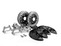 ES#6282 - b6b7s4rbcw2pxs -  Rear Big Brake Kit - Stage 2 - 2-Piece Cross-Drilled & Slotted Rotors (300x22) - Upgrade to the stopping power of the Audi S4 - Assembled By ECS - Audi