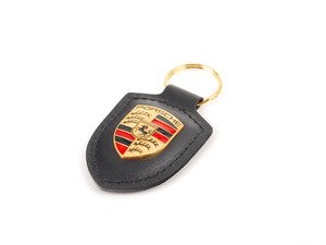 ES#2748386 - WAP0500900E -  Black Crested Key Fob - Key ring to organize all of your keys, while showing Zuffenhausen pride - Genuine Porsche - Porsche