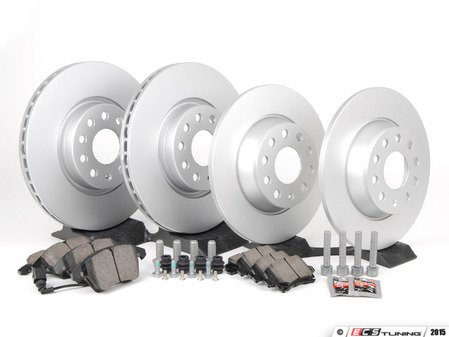 ES#2996275 - 1K0698301AAKT9 - Front & rear brake service kit (312x25/282x12) - Featuring Meyle rotors and Akebono ceramic pads - Assembled By ECS - Volkswagen