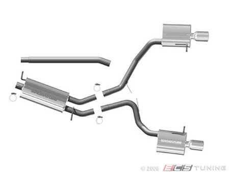 """ES#1892712 - 16680 - Cat Back Exhaust - 2.5"""" stainless steel with dual 4"""" polished stainless tips - Magnaflow - Audi"""