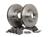 ES#2588663 - 34116757746KT3 - Front Brake Service Kit - Featuring Brembo Brake Rotors and Vaico Pads - Assembled By ECS - BMW
