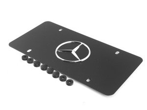 ES#1829227 - Q6880059 - License Plate Frame - Marque Plate With Star Logo (Black Powder Coat/Stainless Steel) - Genuine Mercedes Benz - Mercedes Benz