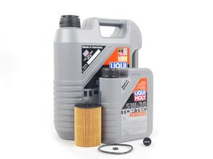 ES#2827058 - MK7TDIKT5 -  Oil Service Kit - with ECS Magnetic Drain plug - Includes Genuine oil filter and Liqui Moly 5w-30 oil - Assembled By ECS - Audi Volkswagen