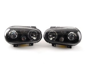 ES#2827020 - HL-VW-GOLF-99-DP - Projector Headlight Set - Black - With fog lights, with clear turn signal lenses - Depo - Volkswagen