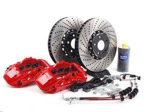 ES#2763019 - 003754ECSKT2 - Front Big Brake Kit - Stage 3 - 2-Piece rotors (365x38) - Featuring Red 19Z 6-piston Porsche calipers, ECS stainless steel lines & ECS 2-piece cross drilled & slotted rotors - ECS - Audi