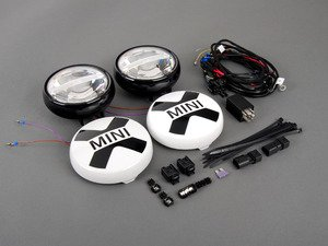ES#2798501 - 63122288982 - LED Driving Lights Retrofit Kit - Black - Add rally lights to your MINI grille - Genuine MINI - MINI