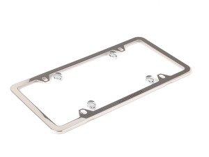 ES#2806251 - 000071801AB5R5 - Slim License Plate Frame - Polished - Comes complete with hardware hiding caps - Genuine Volkswagen Audi - Volkswagen