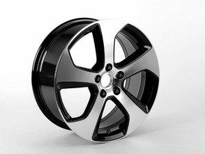 """ES#2806468 - 5G0601025ASFZZ - 18"""" Austin - Priced Each  - 18""""x7.5"""" ET49 5x112 - Aluminum/Gloss Black - Genuine Volkswagen Audi - Volkswagen"""