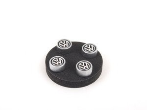 "ES#2755079 - DRG019931 - Valve Stem Cap Set - Plastic - ""VW"" in black/silver, Set of four - Genuine Volkswagen Audi - Volkswagen"