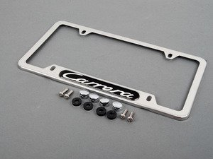 ES#1518764 - PNA70201000 - Carrera Logo License Plate Frame - Polished aluminum finish - Genuine Porsche - Porsche