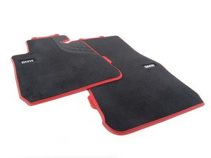 ES#2817873 - 51472339459 - Sport Line Front Carpeted Floor Mat Set - Front - Schwarz/Black with red accent and textile lines - Genuine BMW - BMW