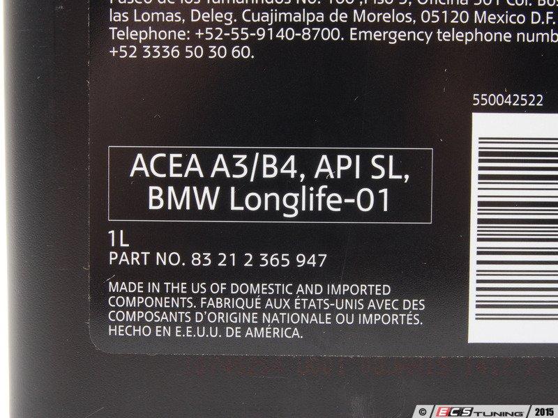 Genuine Mini 83212365947 5w 30 Factory Engine Oil 1