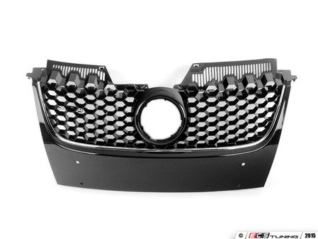 ES#2569743 - 1K1853653BC - Honeycomb Grille - Chrome Trim Line - Gloss black GTI grille honeycomb with badge and chrome trim line - JOM - Volkswagen