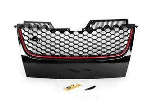ES#2562350 - 1K1853653BRO - Honeycomb Grille - Badgeless - Standard GTI style badgeless grille with red stripe - JOM - Volkswagen