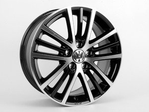 """ES#2158155 - 5K0071497AX1 - 17"""" Onyx Wheel - Set Of Four - Black - 17x7.5 ET54 5x112 Alloys with machined face with black inlay - Genuine Volkswagen Audi - Volkswagen"""