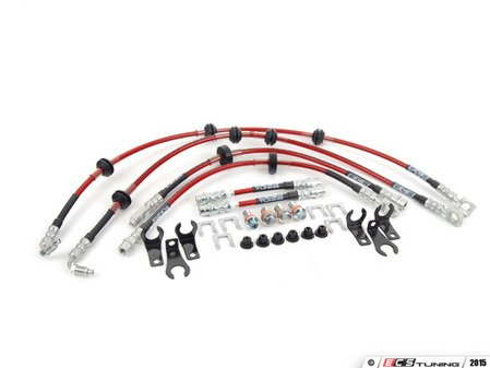 ES#823 - MK4SSVCDOTBLK - Exact-Fit Stainless Steel Brake Lines - Complete Kit - This complete DOT brake line kit covers the front, mid and rear brake lines for shorter, more consistent stops - ECS - Volkswagen