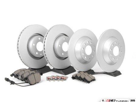 ES#2765918 - 4F0615301EKT9 - Front & Rear Economy Brake Service Kit - Featuring OP Parts rotors and Meyle pads - Assembled By ECS - Audi