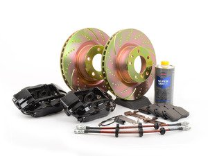 ES#2771537 - 34111161177KT2 - OE 4 Piston Front Big Brake Kit (324x30) - Upgrade your brakes with this bolt on and go solution, featuring Brembo 4 piston calipers and EBC dimpled and slotted rotors. - Assembled By ECS - BMW