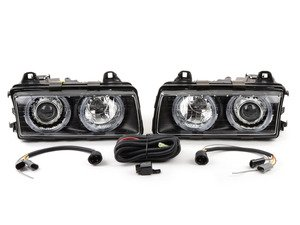 ES#2836899 - HBE36HL-AEB - European Projector Headlight Set - With Angel Eyes - ZKW style ECE lighting, vastly improve your lighting performance. Includes pre-installed angel eyes. - Depo - BMW