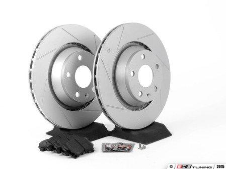 ES#2836932 - 8J0615601AKT3 - Performance Rear Brake Service Kit - Featuring ECS GEOMET Slotted rotors and Hawk HPS 5.0 pads - Assembled By ECS - Audi