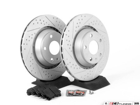 ES#2836931 - 8J0615601AKT2 - Performance Rear Brake Service Kit - Featuring ECS GEOMET Dimpled & Slotted rotors and Hawk HPS 5.0 pads - Assembled By ECS - Audi