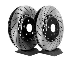 ES#2718300 - 000036ECS01AKT - Front Cross-Drilled & Slotted 2-Piece Brake Rotors - Pair (345x30) - Direct bolt-on replacement - 30% less weight! - ECS - Audi Volkswagen