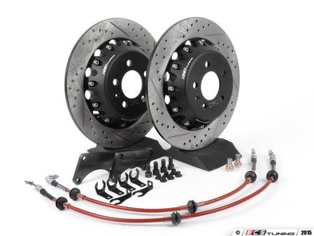ES#803 - MK4S1RXS -  Rear Big Brake Kit - Stage 1 - 2-Piece Solid Cross-Drilled & Slotted Rotors (308x9)  - Add leverage to your rear brakes with this bolt on big brake kit! - ECS - Audi Volkswagen