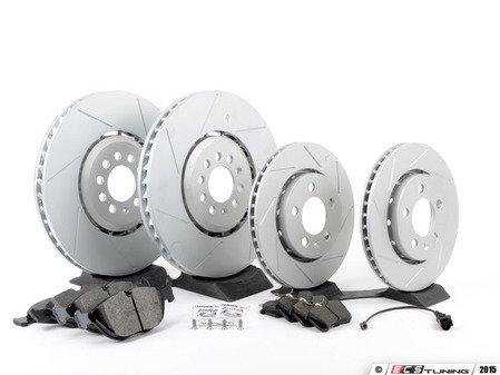 ES#2763800 - 1J0615301AAKT10 - Performance Front & Rear Brake Service Kit - Featuring ECS GEOMET Slotted rotors and Hawk HPS pads - Assembled By ECS - Audi