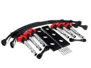 ES#2723130 - 002686ECSKT -  2.0T Coil Pack Conversion Kit - Anodized Black Plates with Red Coil Packs - Unload your ICM's and update your 2.7T ignition system! - ECS - Audi