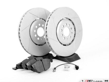 ES#2763783 - 1J0615301AAKT6 - Performance Front Brake Service Kit - Featuring ECS GEOMET Slotted rotors and Hawk HPS pads - Assembled By ECS - Audi