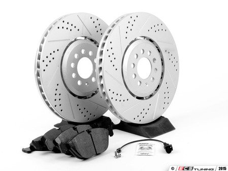 ES#2763781 - 1J0615301AAKT5 - Performance Front Brake Service Kit - Featuring ECS GEOMET Drilled & Slotted rotors and Hawk HPS pads - Assembled By ECS - Audi