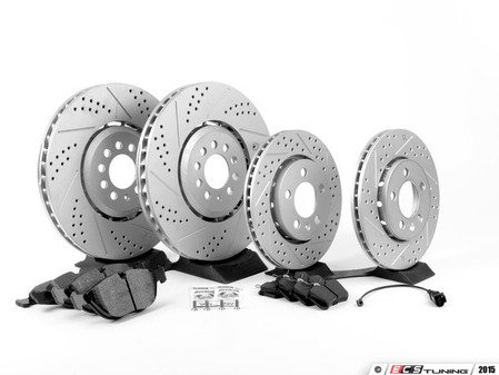 ES#2763786 - 1J0615301AAKT7 - Performance Front & Rear Brake Service Kit - Featuring ECS GEOMET Drilled & Slotted rotors and Hawk HPS pads - Assembled By ECS - Audi