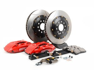 ES#3049095 - 82.133.5100.71 - StopTech front 4 piston big brake kit (325x28mm)  - Comes with 4 piston red calipers, single piece uncoated slotted rotors and stainless steel brake lines. - Includes brackets and mounting bolts - StopTech - BMW