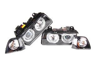 ES#251501 - FKFS017-2KT - Angel Eye Headlights With Indicators - Smoked - Improve lighting & aesthetics with this Euro headlight kit with angel eyes - FK - BMW