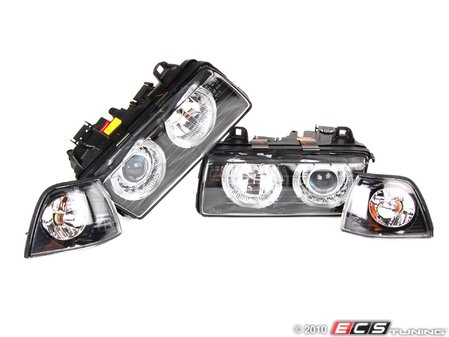 ES#251501 - FKFS017-2KT - Angel Eye Headlights With Indicators - Smoked - Improve lighting & aesthetics with this Euro headlight kit with angel eyes - FK - BMW