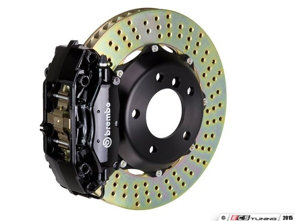 ES#2853902 - 2P1.9003A1 - rear Brembo GT 4 piston Big Brake Kit (380x28mm) - Upgrade to 2 piece rotors (drilled), 4 piston calipers (black), & high performance Brembo pads - Brembo - BMW