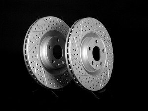 ES#2189763 - 8E0301TXSGMTLRA - Front Cross Drilled & Slotted Brake Rotors - Pair (345x30) - Featuring GEOMET protective coating. - ECS - Audi