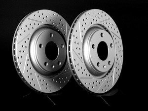 ES#2538855 - 8E0601RXSLRKT - Rear Cross Drilled & Slotted Brake Rotors - Pair (300x22) - Featuring GEOMET protective coating - ECS - Audi