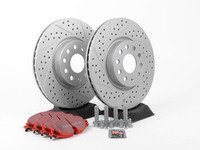 ES#2848991 - 1k0615301ADFRKT - Front Brake service kit (312x25) - Featuring ECS GEOMET drilled and slotted rotors and EBC RedStuff pads - Assembled By ECS - Volkswagen