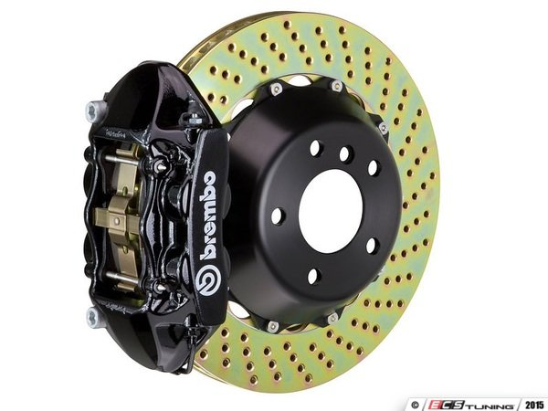 ES#2852986 - 1P1.8505A1 - Brembo GT Front Big Brake Kit - 2 Piece Drilled Rotors (365x29) - Featuring Black 4 piston calipers, stainless brake lines, and Brembo Sport brake pads - Brembo - Volkswagen
