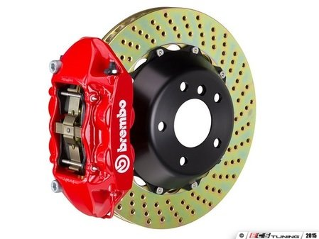 ES#2852987 - 1P1.8505A2 - Brembo GT Front Big Brake Kit - 2 Piece Drilled Rotors (365x29) - Featuring Red 4 piston calipers, stainless brake lines, and Brembo Sport brake pads - Brembo - Volkswagen