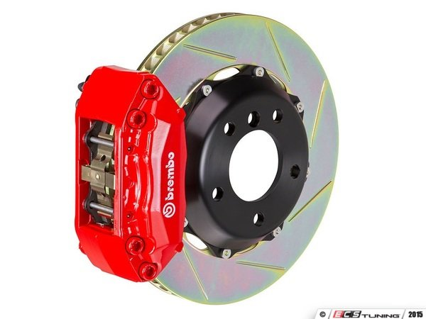 ES#2854307 - 2P2.8045A2 - rear Brembo GT 4 piston Big Brake Kit (345x28mm) - Upgrade to 2 piece rotors (slotted), 4 piston calipers (red), & high performance Brembo pads - Brembo - BMW