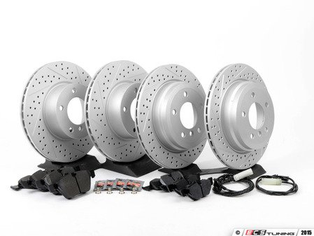 ES#2817042 - 6854998xskt1KT - Performance Front & Rear Brake Service Kit - Featuring ECS GEOMET cross drilled and slotted rotors and Hawk HPS pads - Assembled By ECS - BMW