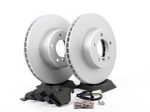 ES#2837071 - 34116864906KT1 - Front Brake Service Kit - Featuring Meyle coated rotors and Brembo pads - Assembled By ECS - BMW