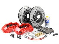 ES#1896 - B5S4S4BBKRXS -  Front Big Brake Kit - Stage 4 - 2-Piece Cross Drilled & Slotted Rotors (352x32) - Featuring Red  6 piston Porsche Cayenne calipers - ECS - Audi