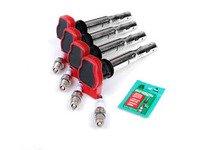 ES#2535339 - 06E905115EKT - Ignition Service Kit - Includes four Original Equipment red coil packs and four Bosch double platinum spark plugs - Assembled By ECS - Audi Volkswagen