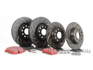 ES#2848974 - 1k0615301abKT -  Front & Rear Brake Service Kit (312x25/272x10) - Featuring EBC dimpled and slotted rotors and EBC redstuff pads - Assembled By ECS - Volkswagen