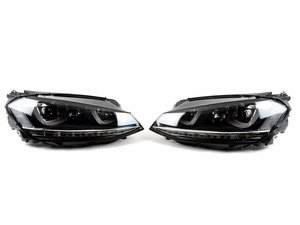 ES#3187894 - HVWG7HL-C2 - Projector Headlight Set - With Chrome Strip - Features dual-LED DRLs, turning light, and LED indicator - Helix - Volkswagen